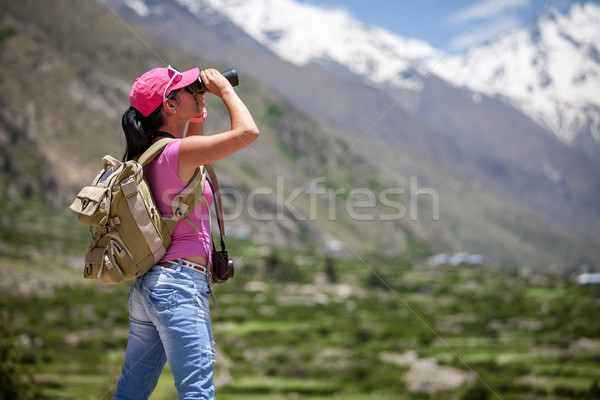 Donna viaggiatore strada sport natura Foto d'archivio © cookelma