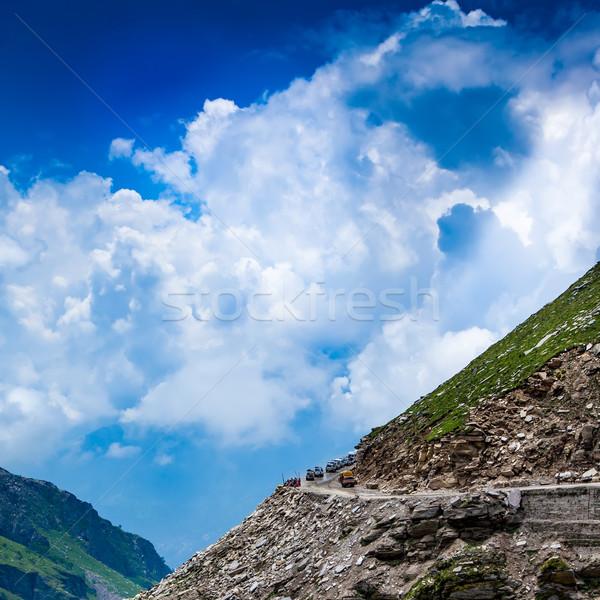 Rohtang La pass Traffic jam of cars Stock photo © cookelma