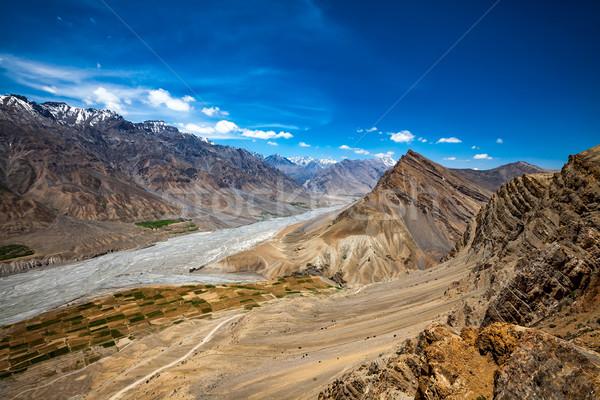 Stockfoto: Vallei · hemel · voorjaar · berg · zomer · Blauw