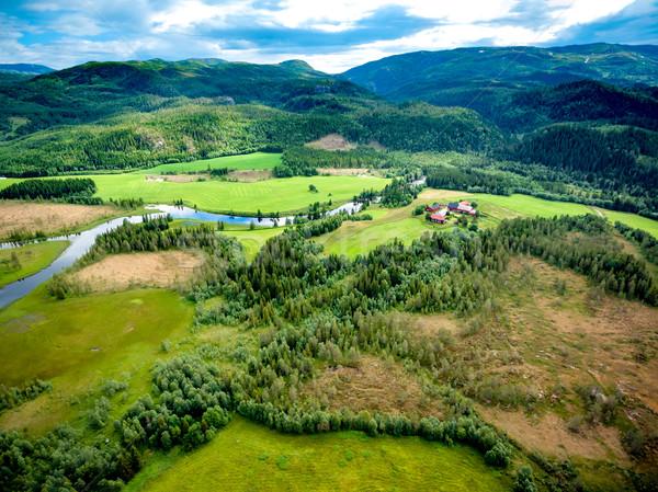 Piękna charakter Norwegia antena fotografii naturalnych Zdjęcia stock © cookelma