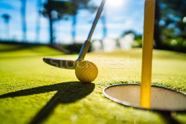 Mini golf citromsárga labda denevér lyuk Stock fotó © cookelma