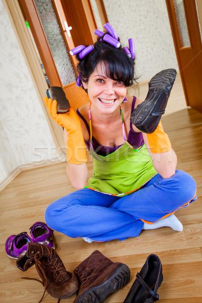 Huisvrouw vloer vrouwen home moeder schoenen Stockfoto © cookelma