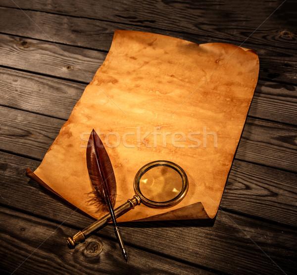 Foto stock: Papel · viejo · madera · rizado · borde · negocios
