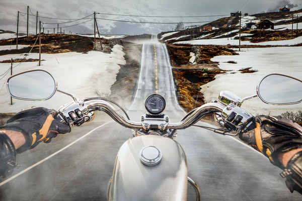 Biker First-person view, mountain pass in Norway Stock photo © cookelma