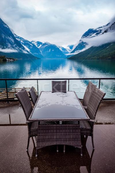 Kávézó természet tó gyönyörű Norvégia természetes Stock fotó © cookelma