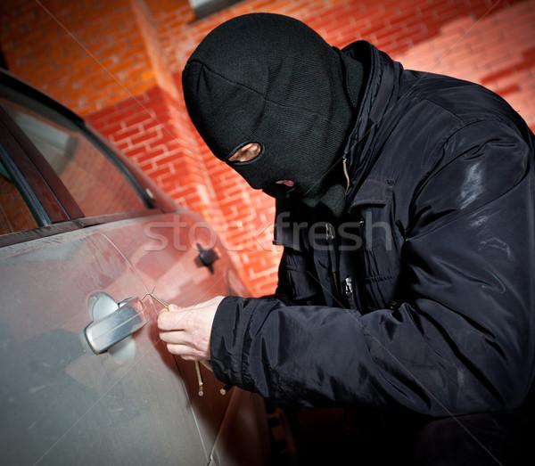 Rabló tolvaj maszk autó férfiak városi Stock fotó © cookelma
