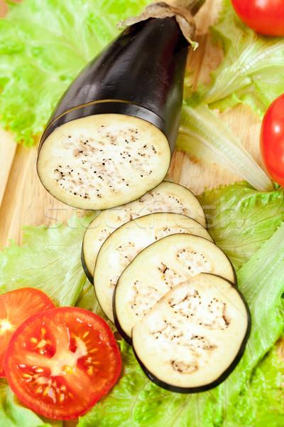 Aubergine aubergine vers gesneden tabel Stockfoto © cookelma
