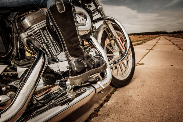 Biker girl riding on a motorcycle Stock photo © cookelma