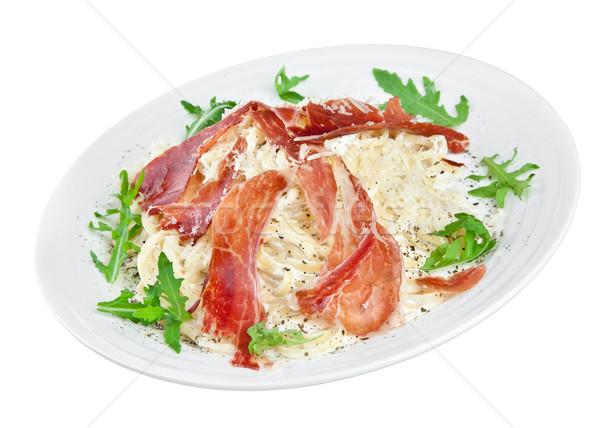 Apetitoso tocino queso blanco pasta Foto stock © cookelma
