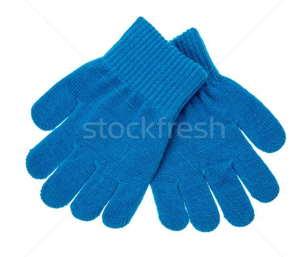 Foto stock: De · punto · bebé · guantes · blanco · manos