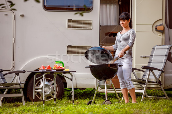 Family vacation travel RV, holiday trip in motorhome, Caravan ca Stock photo © cookelma