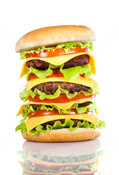 Savoureux appétissant hamburger blanche bar fromages Photo stock © cookelma