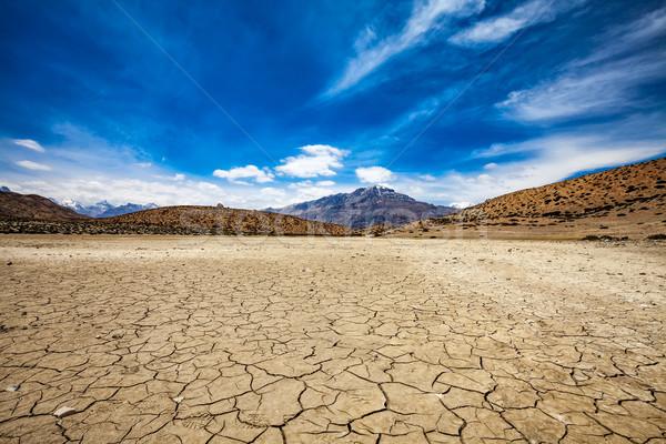 Drogen meer Indië vallei landschap berg Stockfoto © cookelma