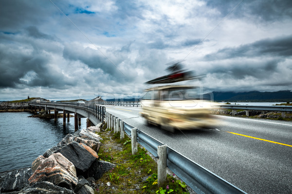 Norway. Car travels on the highway. Stock photo © cookelma