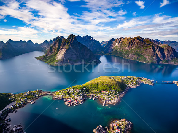 Lofoten archipelago islands aerial photography. Stock photo © cookelma