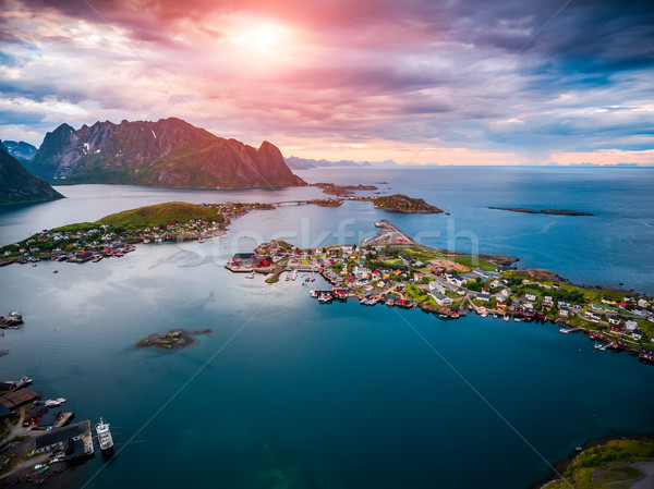 Lofoten archipelago islands aerial photography. Stock photo © cookelma