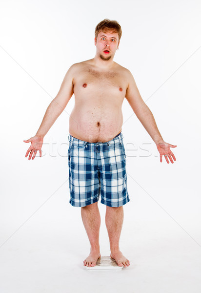 太り過ぎ 太った男 スケール ボディ 背景 脂肪 ストックフォト © cookelma