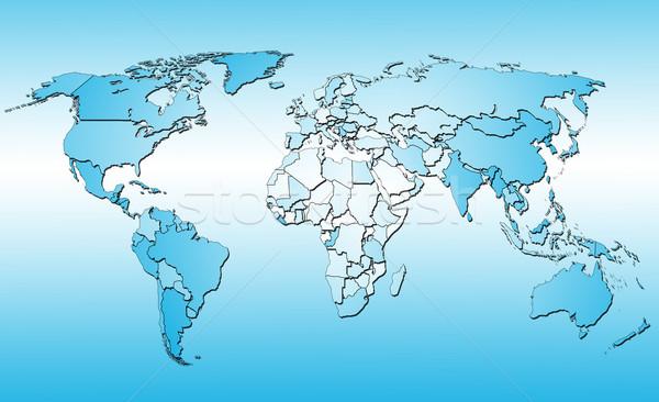 Weltkarte alle Länder blau Business Computer Stock foto © cookelma