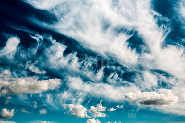 Blauwe hemel wolken foto zon natuur landschap Stockfoto © cookelma