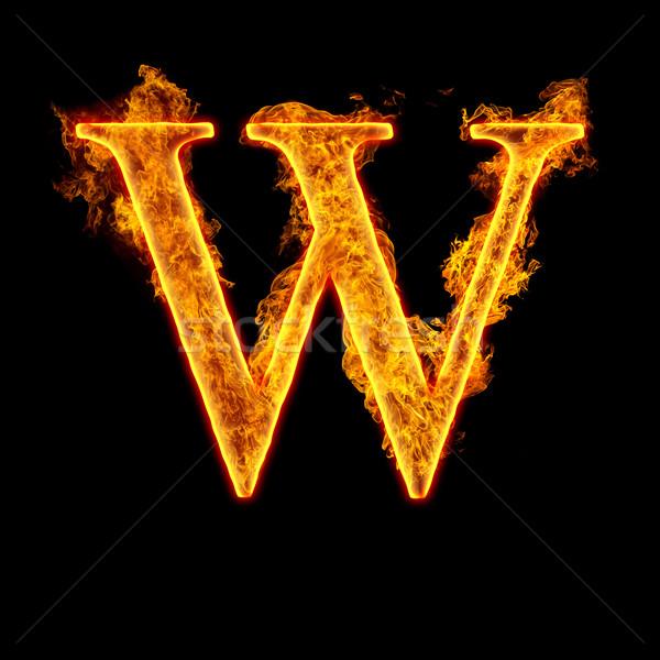 Fire alphabet letter W Stock photo © cookelma