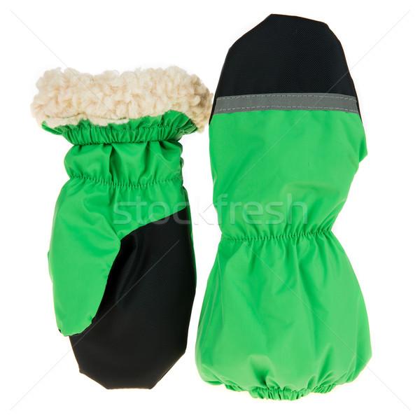 Children's autumn-winter mittens on a white background Stock photo © cookelma