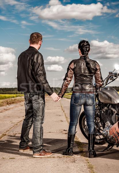 Motorosok pár motoros férfi lány út Stock fotó © cookelma