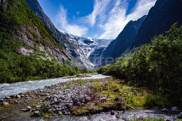 Piękna charakter Norwegia naturalnych krajobraz lodowiec Zdjęcia stock © cookelma