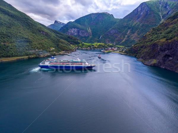 Tengerjáró hajó hajóút Norvégia légi fotózás égbolt Stock fotó © cookelma