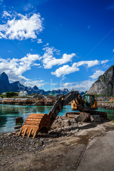 Excavator, bulldozer repair work on the road. Norway Stock photo © cookelma