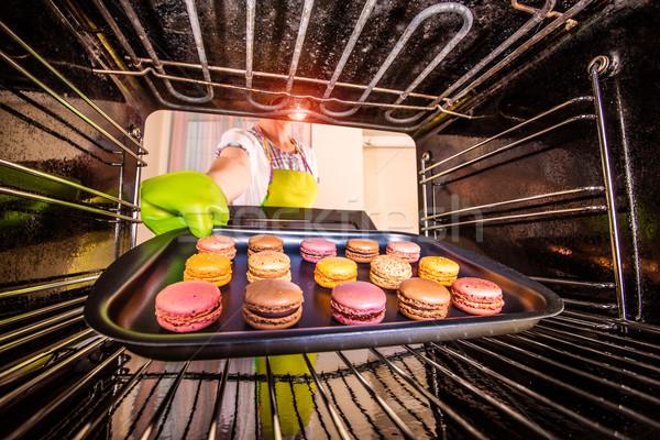 Macarons печи мнение внутри приготовления Сток-фото © cookelma