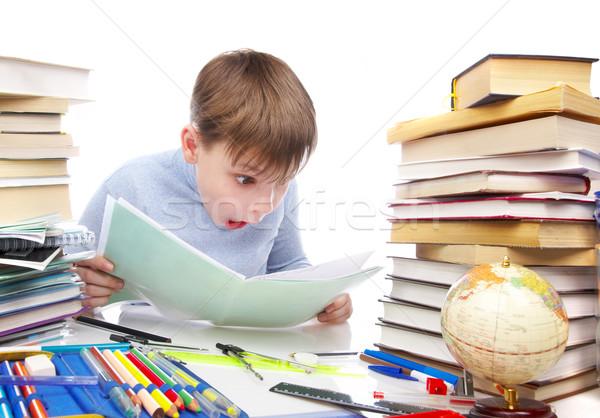 ストックフォト: 少年 · 後ろ · 表 · 図書 · 子供 · 図書