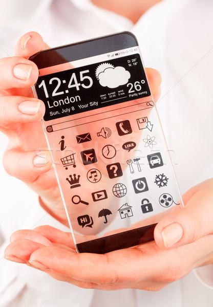 Transparente tela humanismo mãos exibir Foto stock © cookelma