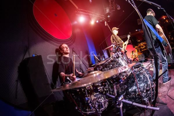 Spelen drums muzikant fase rockmuziek concert Stockfoto © cookelma