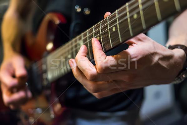 Músico guitarra música rocha soar Foto stock © cookelma