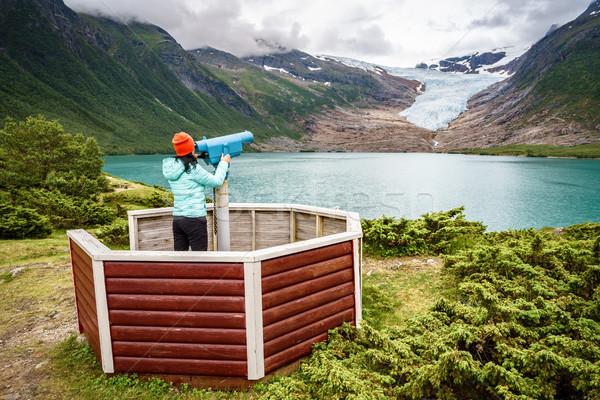 ледник Норвегия туристических девушки глядя Сток-фото © cookelma