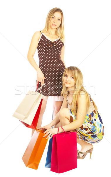 Dwa dziewcząt torby porównanie zakupy sprzedaży Zdjęcia stock © cookelma