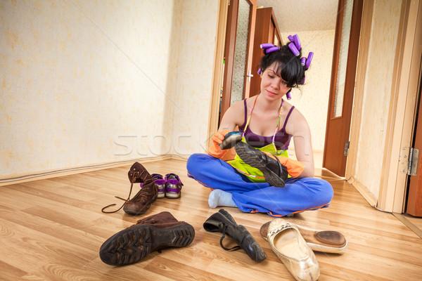 Háziasszony padló nők otthon anya cipők Stock fotó © cookelma