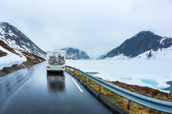 キャラバン 車 道路 美しい 自然 ノルウェー ストックフォト © cookelma