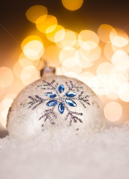 Christmas piłka złoty wakacje zimą niebieski Zdjęcia stock © cookelma