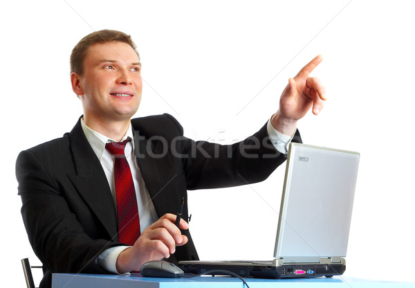 Zdjęcia stock: Biznesmen · garnitur · tabeli · laptop · biuro · Internetu