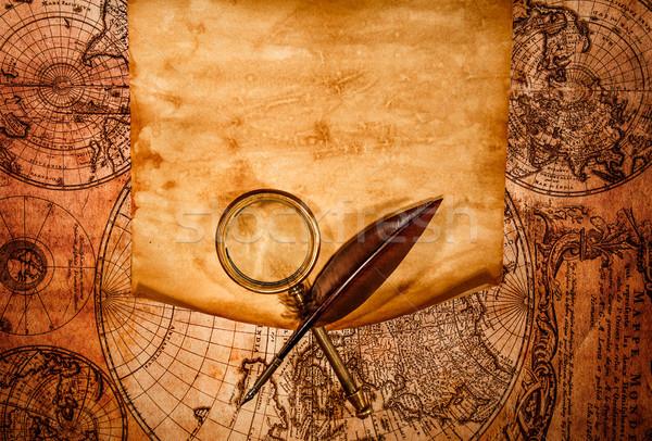 Сток-фото: старой · бумаги · древних · карта · край · бизнеса