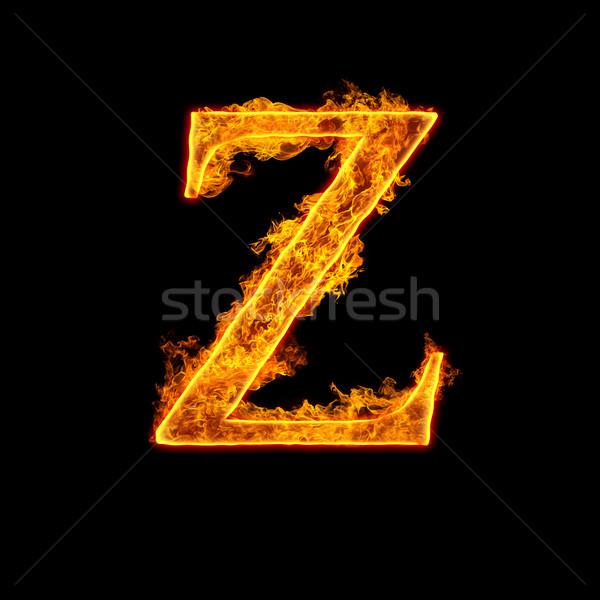 Fire alphabet letter Z Stock photo © cookelma