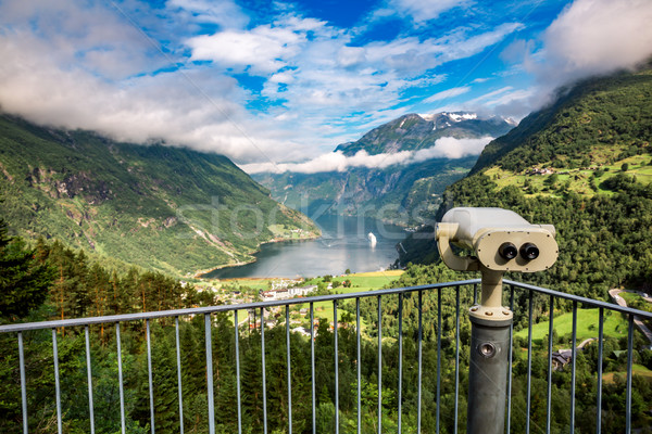 Geiranger fjord view point Lookout observation deck, Norway. Stock photo © cookelma