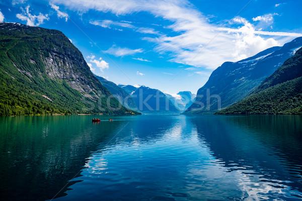 湖 美しい 自然 ノルウェー 自然 風景 ストックフォト © cookelma