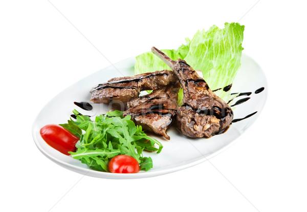 Borjúhús fehér izolált étel konyha zöld Stock fotó © cookelma