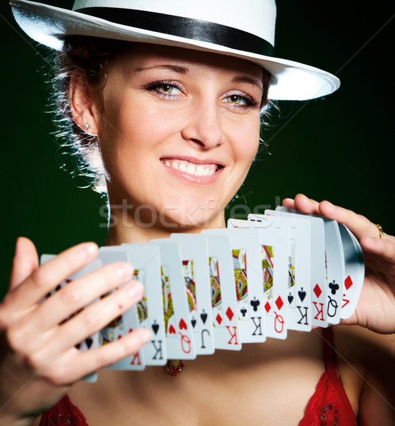 girl and playing cards Stock photo © cookelma