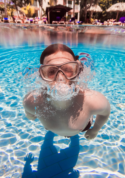 teenager floats in pool Stock photo © cookelma