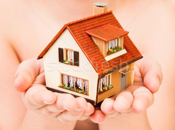 Domu ludzi ręce działalności rodziny domu Zdjęcia stock © cookelma