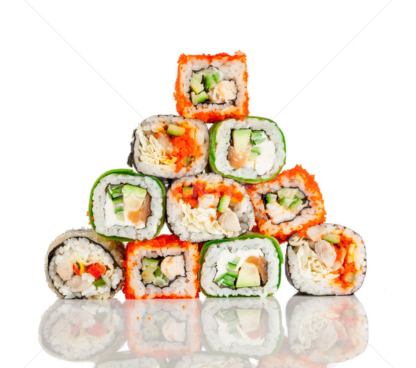 Stock photo: Sushi Roll on a white background