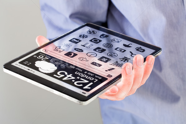 Foto stock: Tableta · transparente · Screen · humanos · manos · pantalla